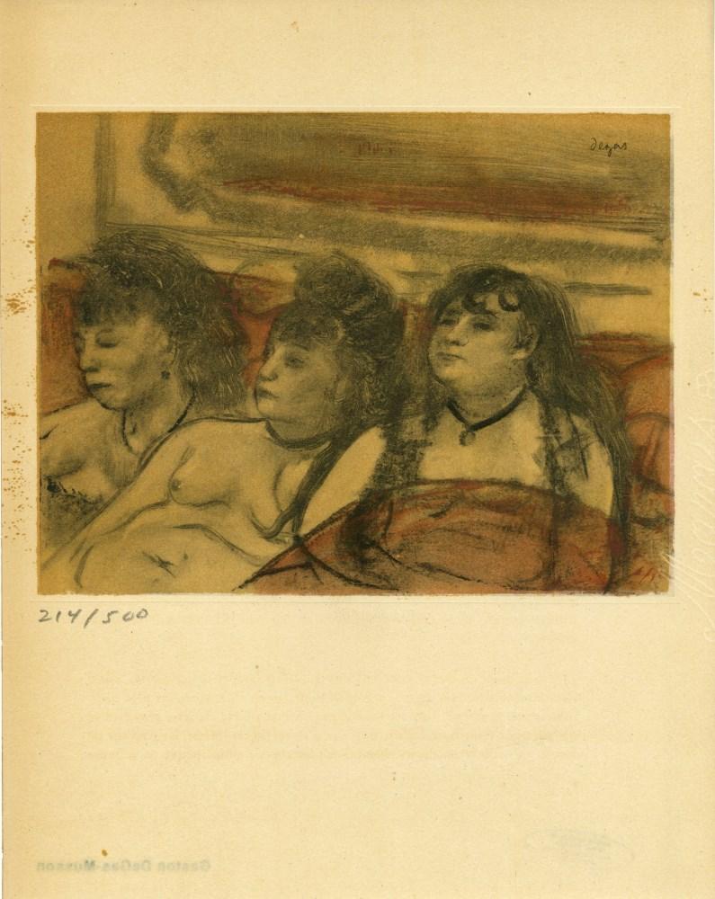 EDGAR DEGAS - Trois filles assises de face - Original color gravure with pochoir, after the monotype