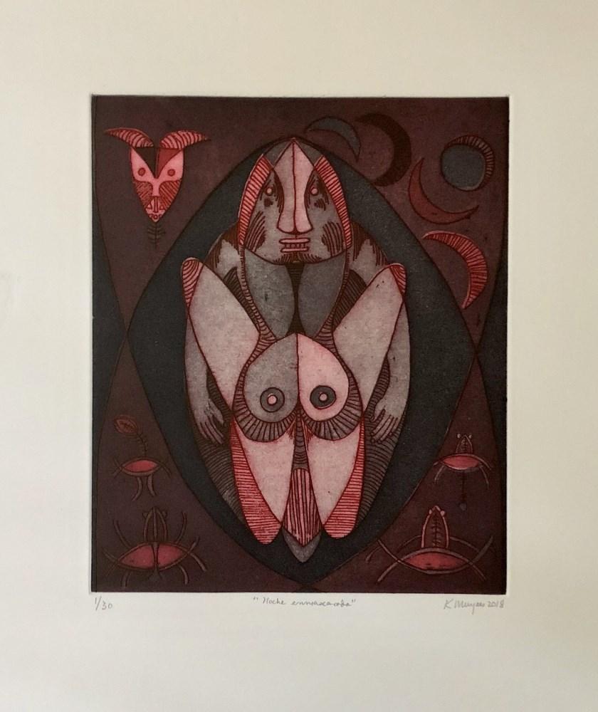 KARIMA MUYAES - Noche Enmascarada - Color etching and aquatint