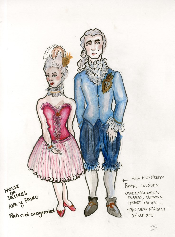 ESTELA WILLIAMS - Costume Design: 'House of Desires' - Watercolor, ink, and colored pencils on paper