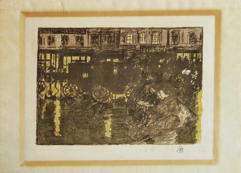 PIERRE BONNARD - Rue, la soir, sous la pluie - Original four color lithograph - Image 2 of 2