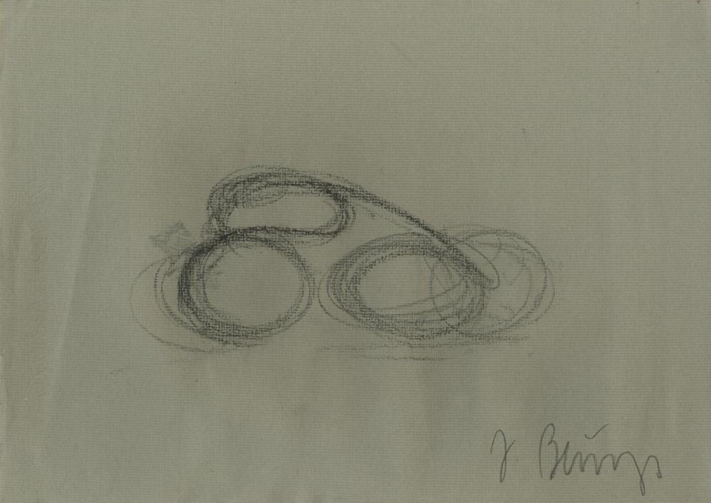 JOSEPH BEUYS - Radfahrer - Oil pencil drawing