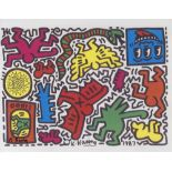 KEITH HARING - Pop Shop Tokyo Sticker Sheet - Color offset lithograph