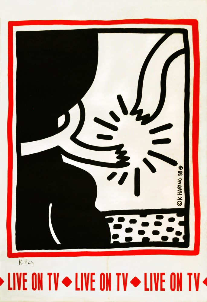 KEITH HARING - Live on TV - Color offset lithograph