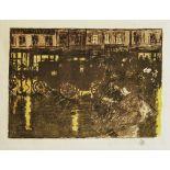 PIERRE BONNARD - Rue, la soir, sous la pluie - Original four color lithograph