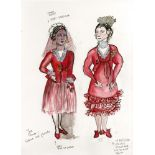 ESTELA WILLIAMS - Costume Design: 'The Rover' - Watercolor, ink, and colored pencils on paper