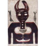KARIMA MUYAES - Behind the Cat - Color stencil monoprint