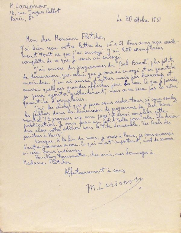 MIKHAIL LARIONOV - Paris Painters' Balls, Letter #2 - Autograph letter signed