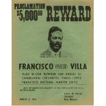 MEXICAN SCHOOL - Pancho Villa Reward Poster - Linotype