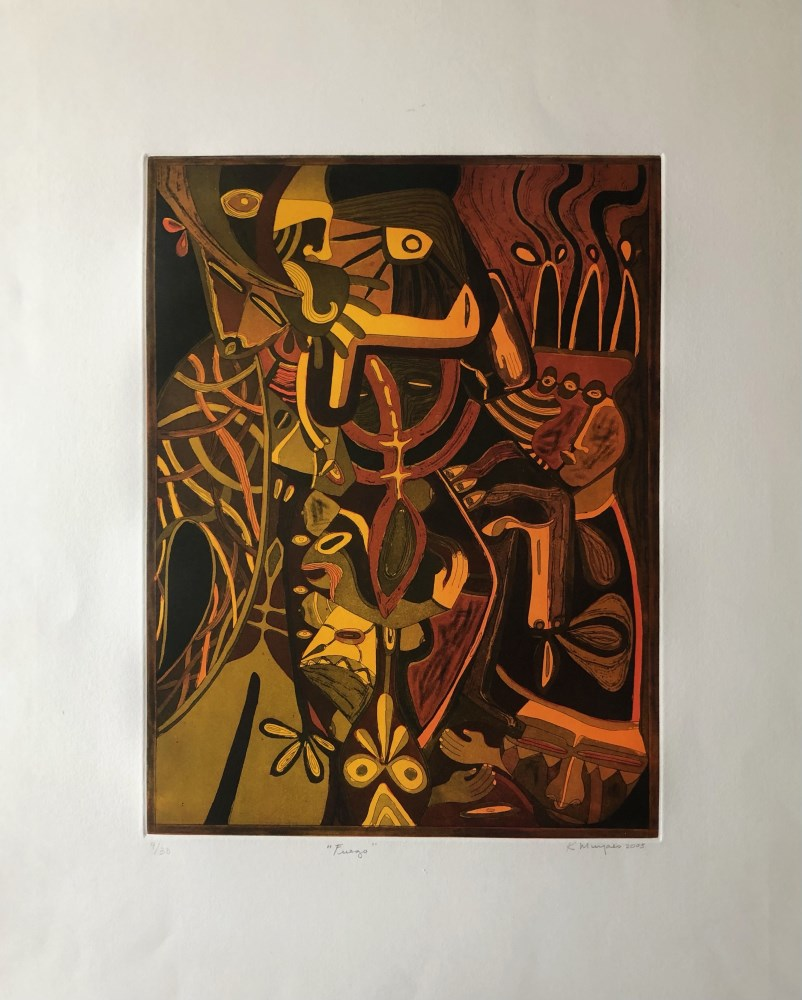 KARIMA MUYAES - Fuego - Color etching with aquatint