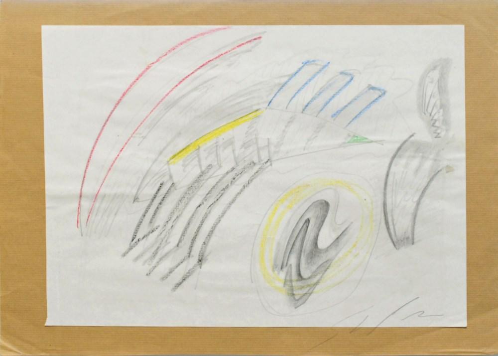 MARIO SCHIFANO - Composizione - Crayon and pencil drawing