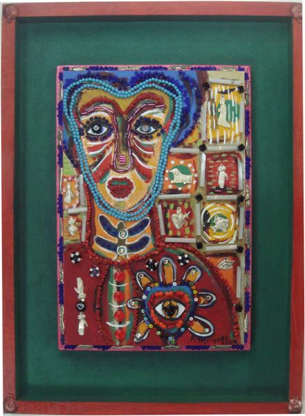 """KARIMA MUYAES - Beaded Woman - Acrylic on board, with glass beads and nickel silver """"milagros"""" ap..."""