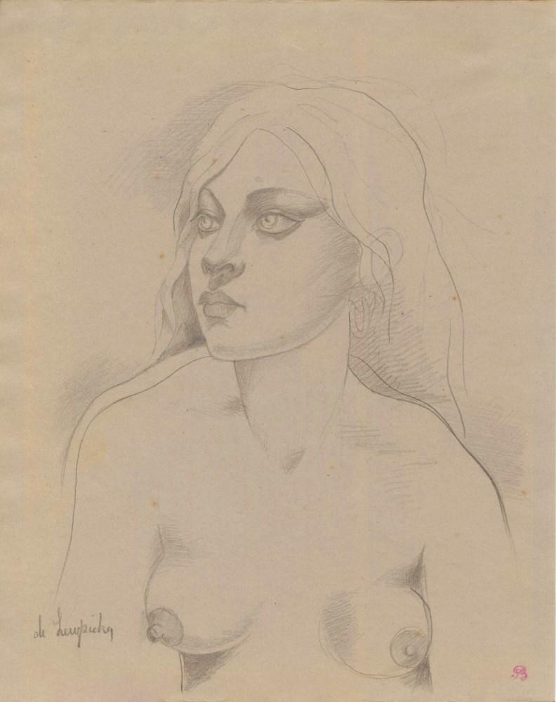 TAMARA DE LEMPICKA - Portrait d'une jeune femme nue - Pencil drawing on paper