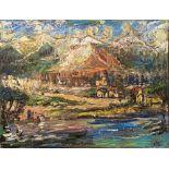 OSKAR KOKOSCHKA - Dorf am Fluss - Oil on canvas