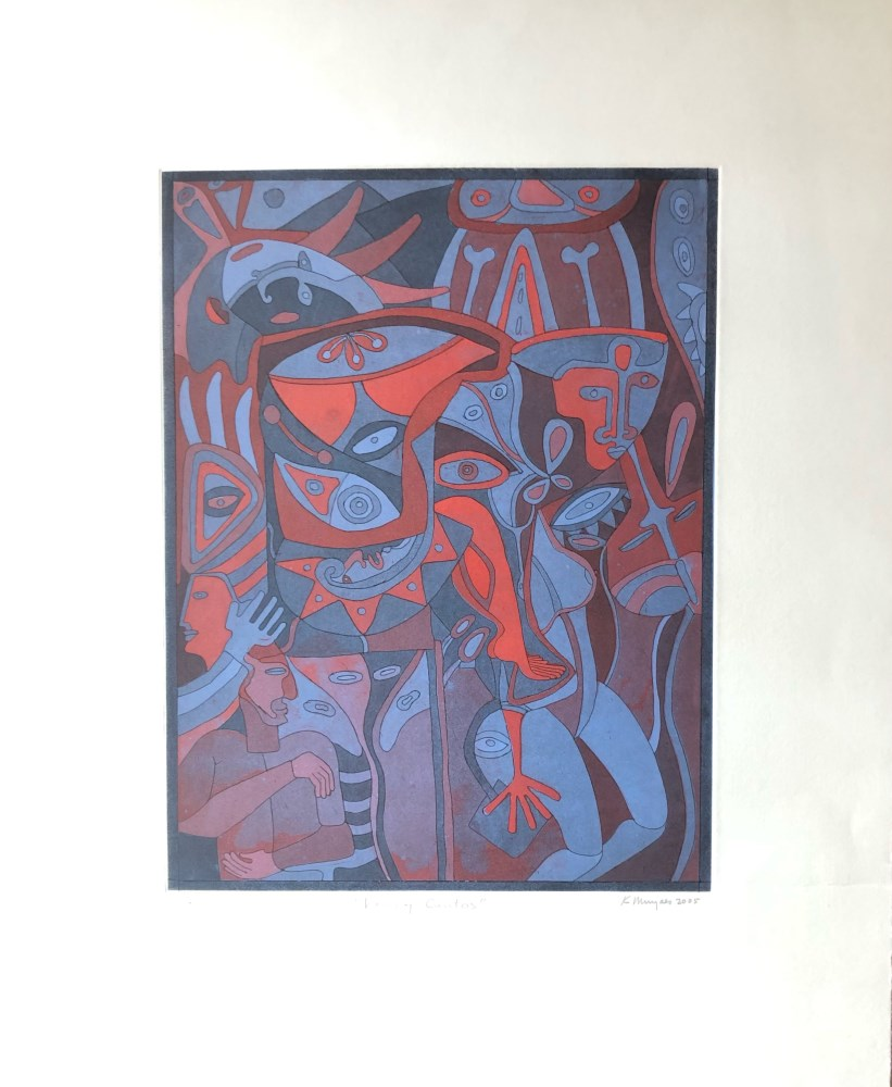 KARIMA MUYAES - Voces y Cantos - Color etching with aquatint