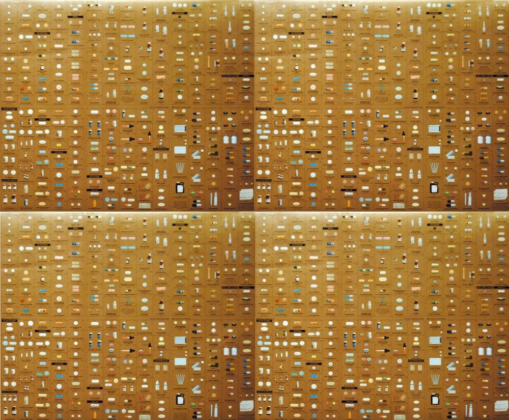 DAMIEN HIRST - Pharmacy Panel (Gold) (2004) (4 panel) - Color silkscreen and offset lithograph