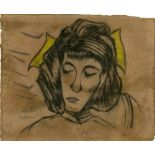 ERICH HECKEL - Frauenkopf - Mixed media (pastel, charcoal, pencil) on paper