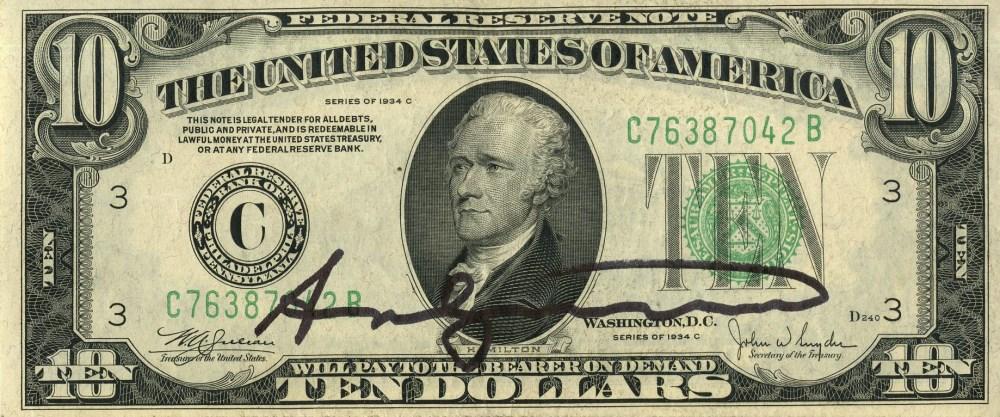 ANDY WARHOL - Ten Dollar Hamilton - Color engraving and letterpress