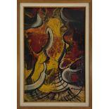 DAVID ALFARO SIQUEIROS - Cara en el infierno - Pyroxylin on wood