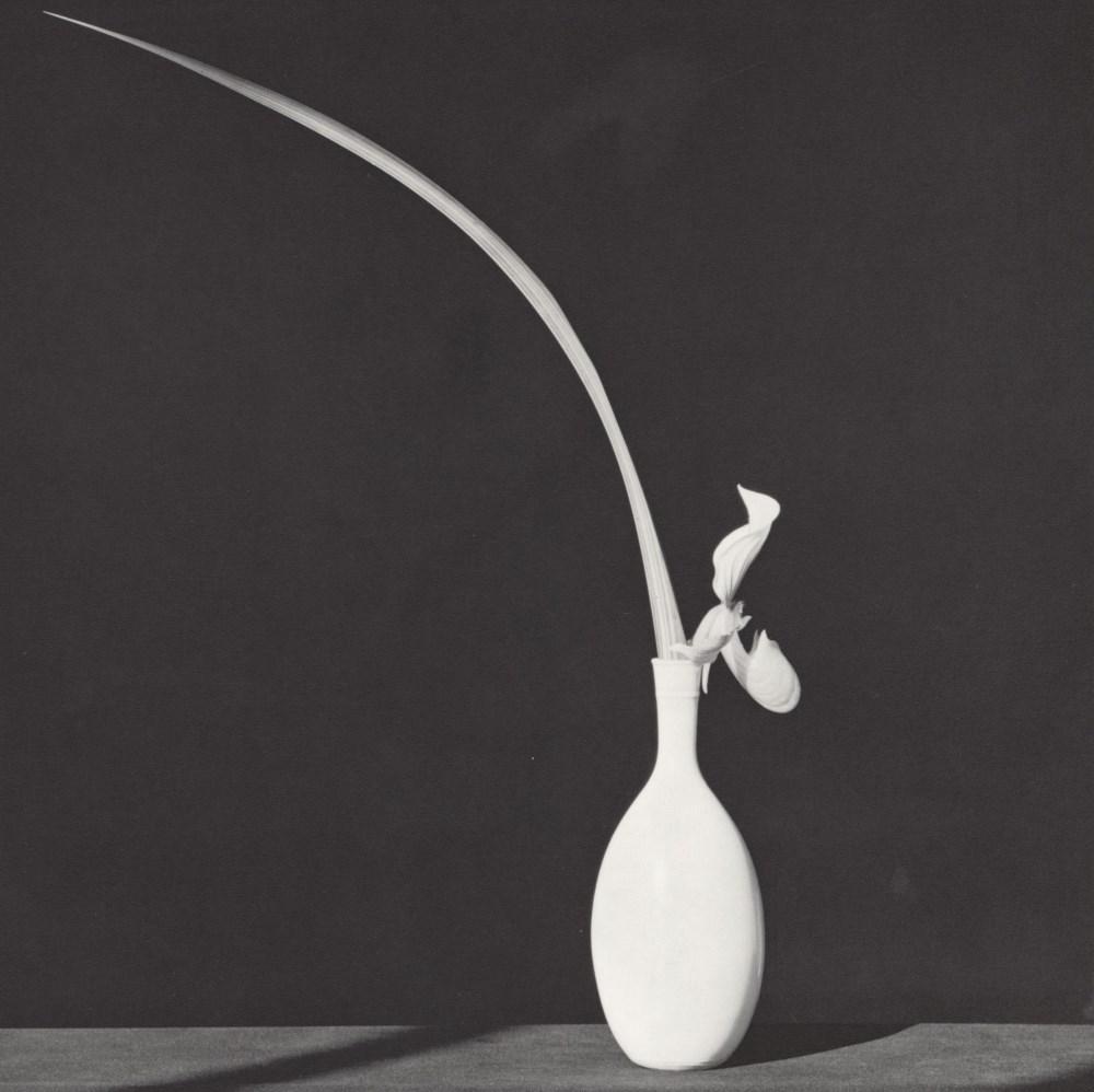 ROBERT MAPPLETHORPE - Orchid and Leaf in White Vase - Original vintage photogravure
