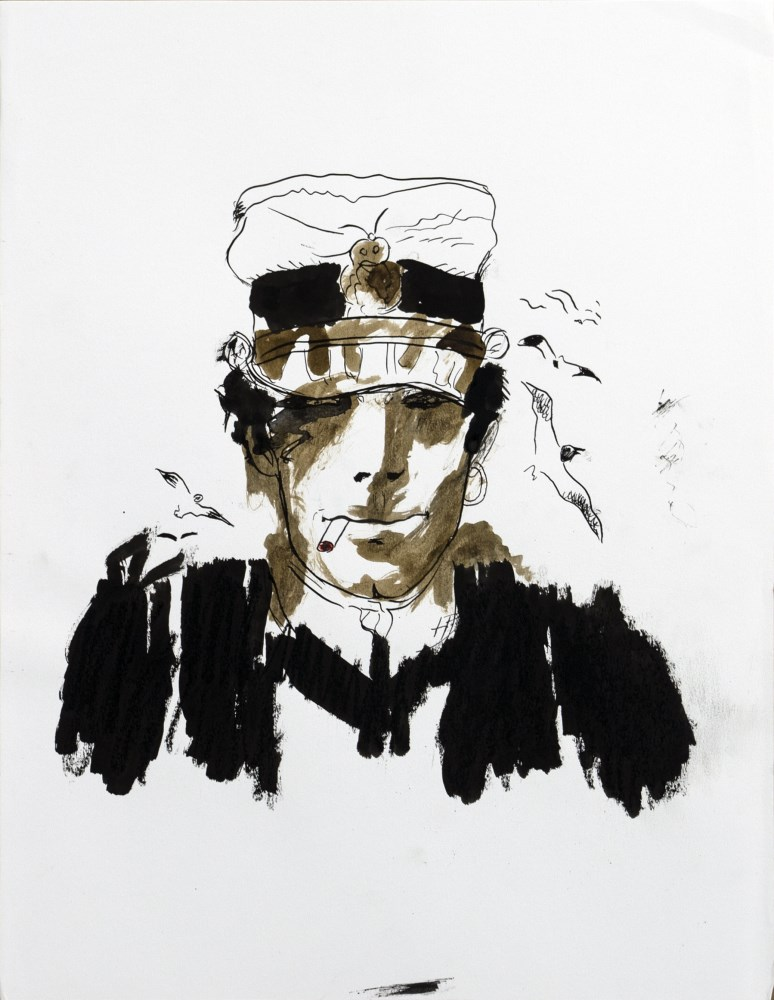 HUGO PRATT - Corto Maltese, with Seagulls - Watercolor, ink, and oil pastel on paper