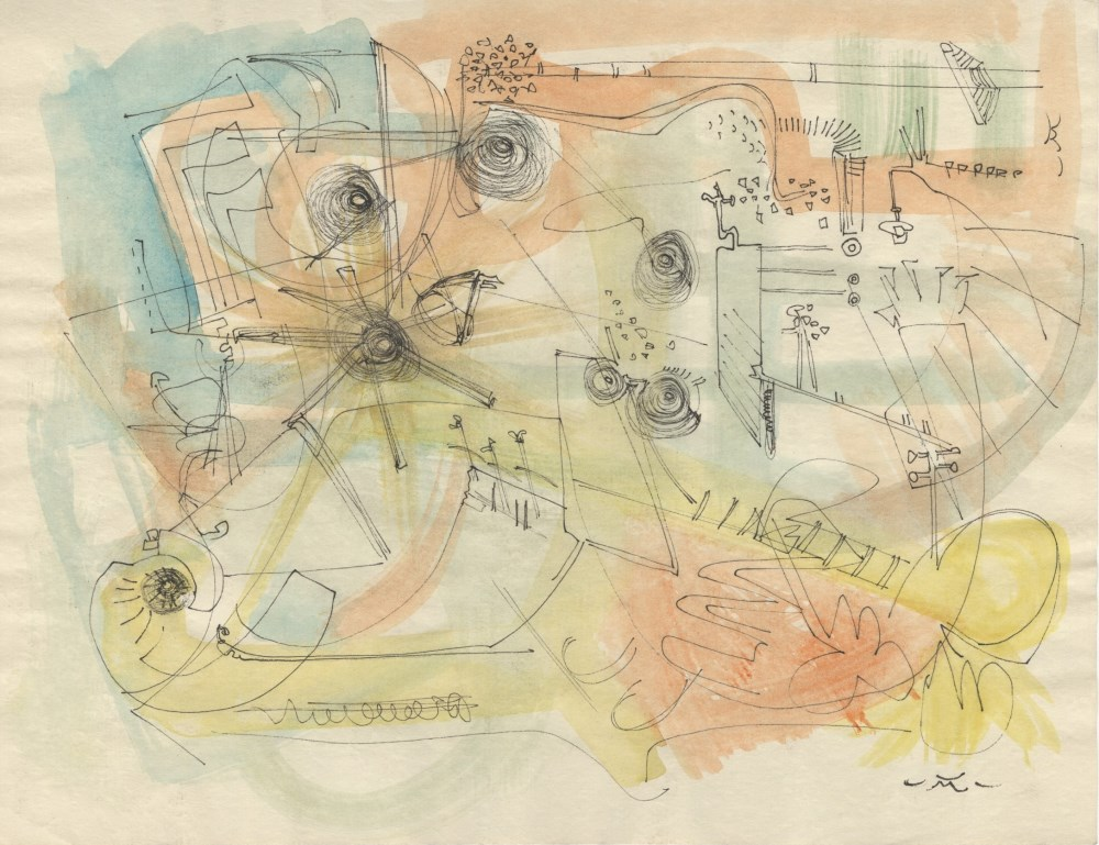ROBERTO MATTA - Sans titre - Watercolor and ink drawing on paper