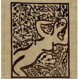 SHIKO MUNAKATA - Female Nude in Garden II - Color woodcut in brown ink