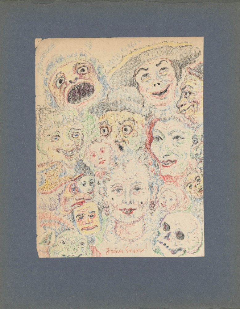 JAMES ENSOR - Têtes Grotesques - Watercolor, wax crayon, and pencil drawing on paper