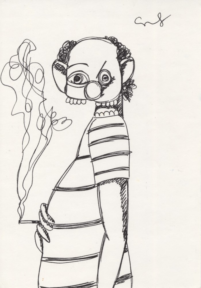GEORGE CONDO - Cigarette - Ink drawing on paper