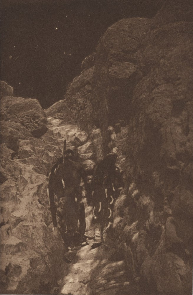 EDWARD S. CURTIS - On the Ancient Stairway - Original vintage sepia toned photogravure