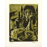 ALVIN HOLLINGSWORTH - Lonely Woman - Original color woodcut