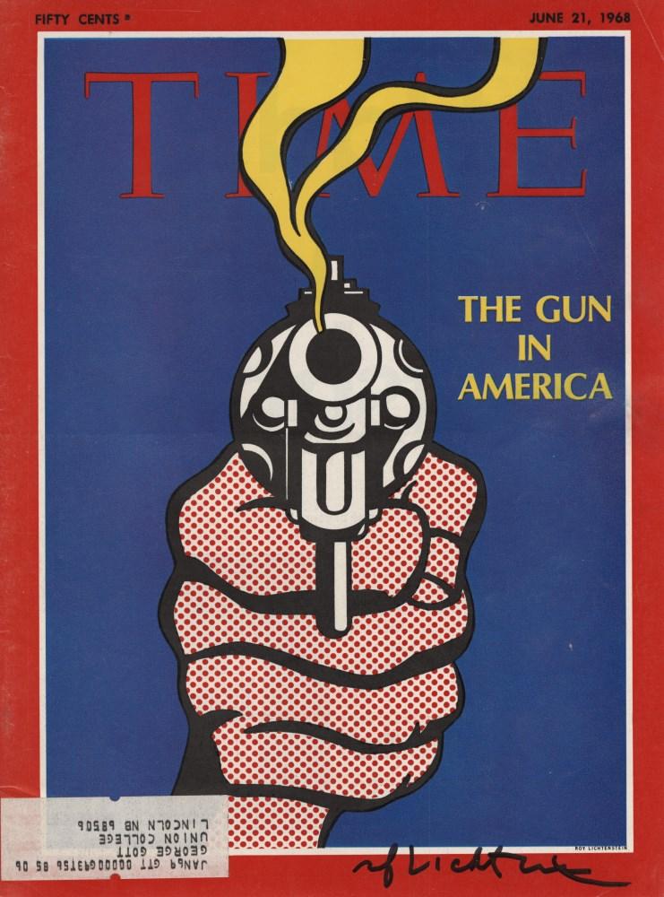 ROY LICHTENSTEIN - The Gun in America - Color offset lithograph