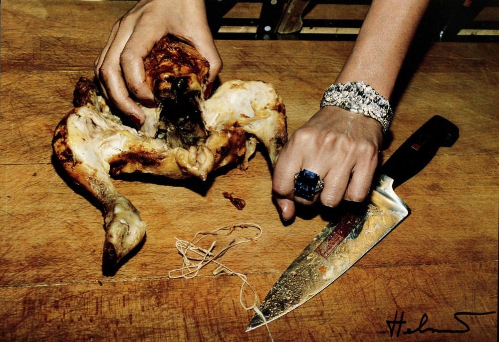 HELMUT NEWTON - Roast Chicken and Bulgari Jewels - Original vintage color photolithograph