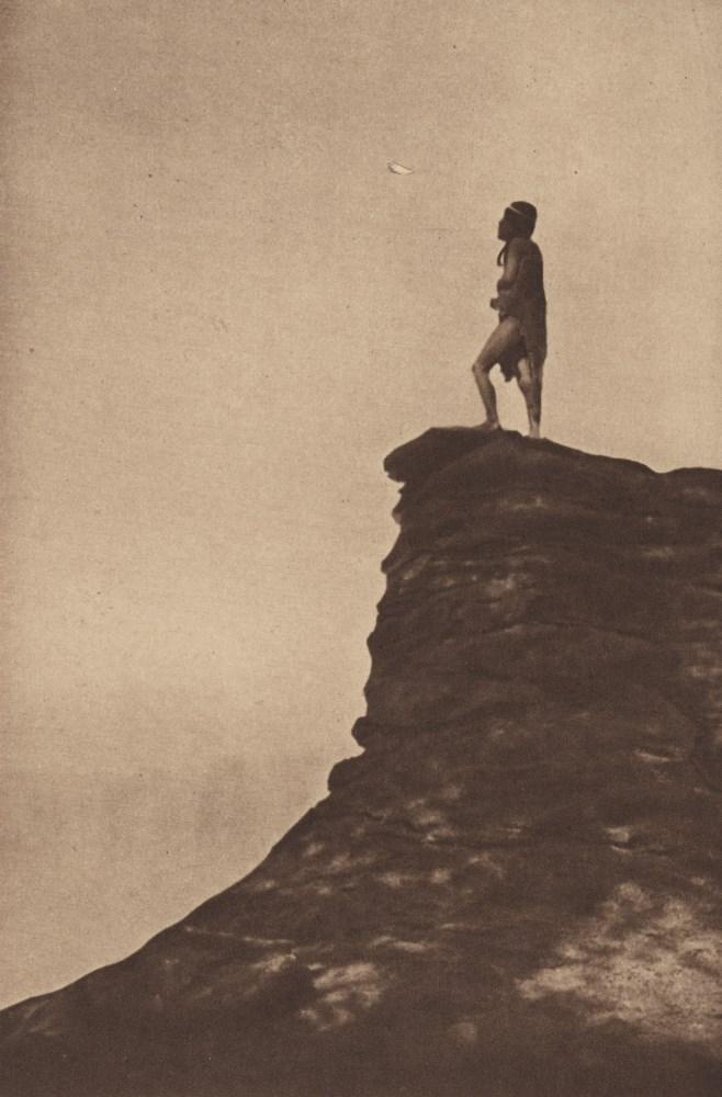 EDWARD S. CURTIS - The Prayer Token - Original vintage sepia toned photogravure