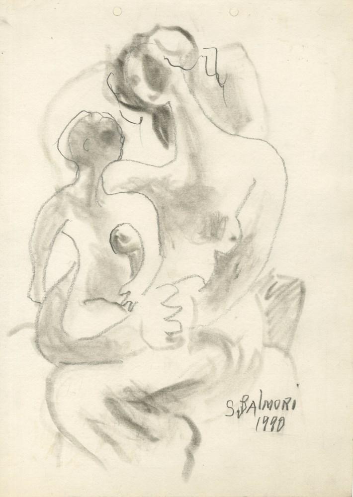 SANTOS BALMORI - Mujer con el Niño - Charcoal drawing
