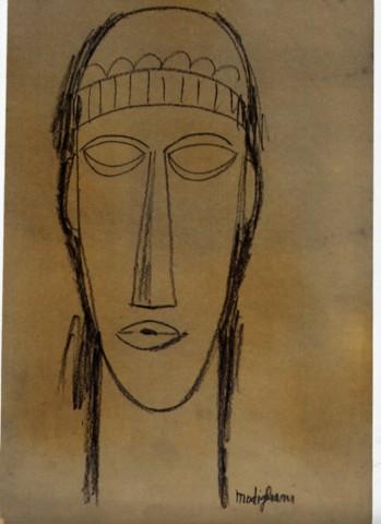 AMEDEO MODIGLIANI [d'apres] - Tete de Cariatide IV - Original pencil drawing