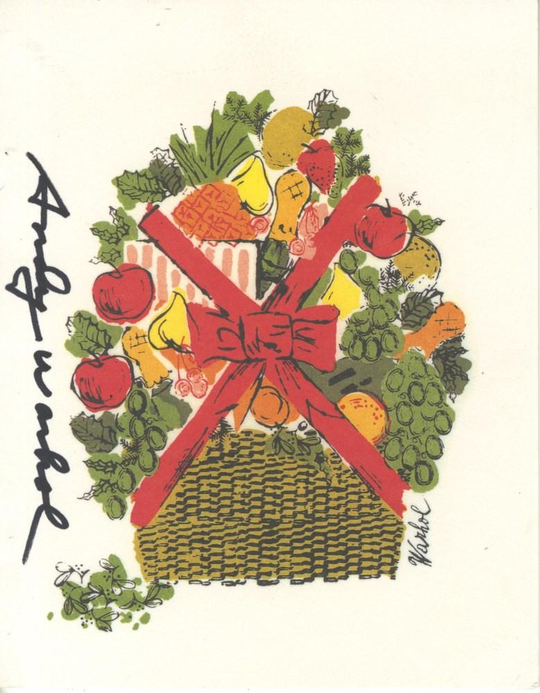 ANDY WARHOL - Christmas card: Fruit Basket - Original vintage color offset lithograph