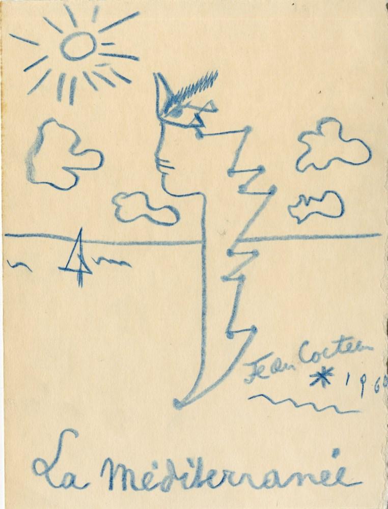 JEAN COCTEAU [d'apres] - La Mediterranee - Original color wax pencil drawing