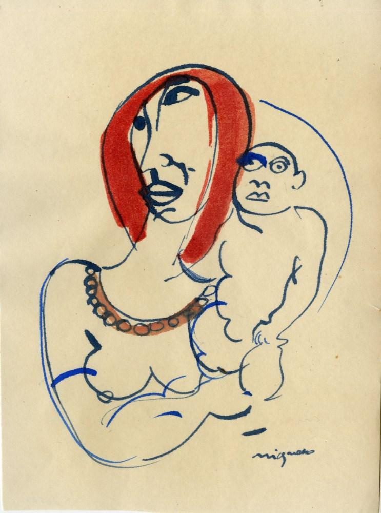 """GIUSEPPE MIGNECO - Studio per """"Maternita"""" - Watercolor on paper"""