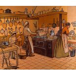 LIBRAIRIE ARMAND COLIN [publisher] - The Kitchen - Color lithograph