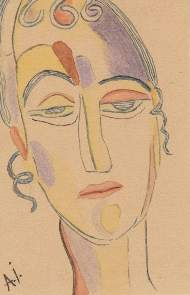 ALEXEJ VON JAWLENSKY [imputee] - Abstraktes Portrat - Watercolor on paper