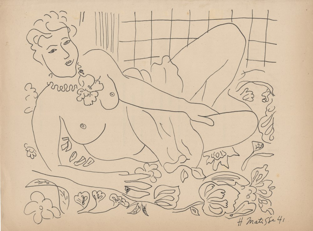 HENRI MATISSE [imputee] - Nu au repos - Pen and ink drawing on paper