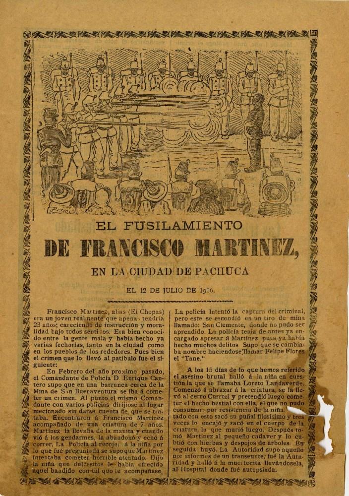 JOSE GUADALUPE POSADA - El Fusilamiento de Francisco Martinez - Relief engraving