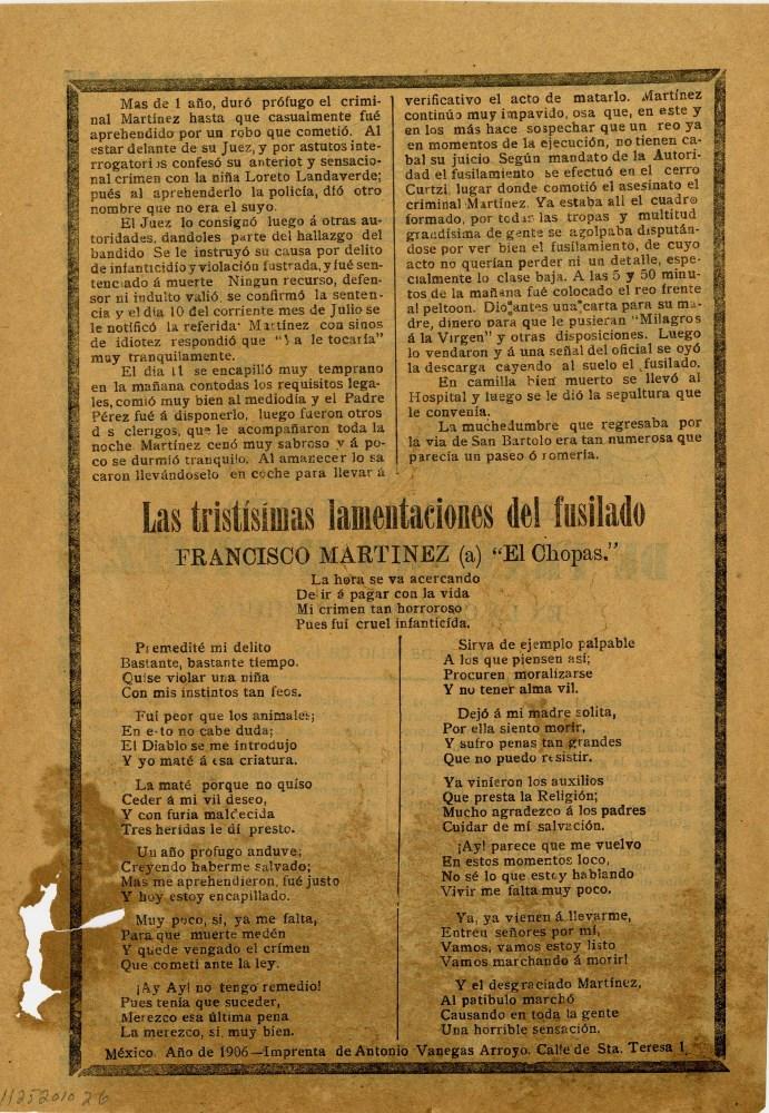 JOSE GUADALUPE POSADA - El Fusilamiento de Francisco Martinez - Relief engraving - Image 2 of 2