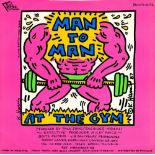 KEITH HARING - Man to Man: At the Gym - Original color offset lithograph