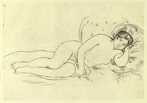 PIERRE-AUGUSTE RENOIR - Femme nue couchee, tournee a droite, 2e Planche - Original etching