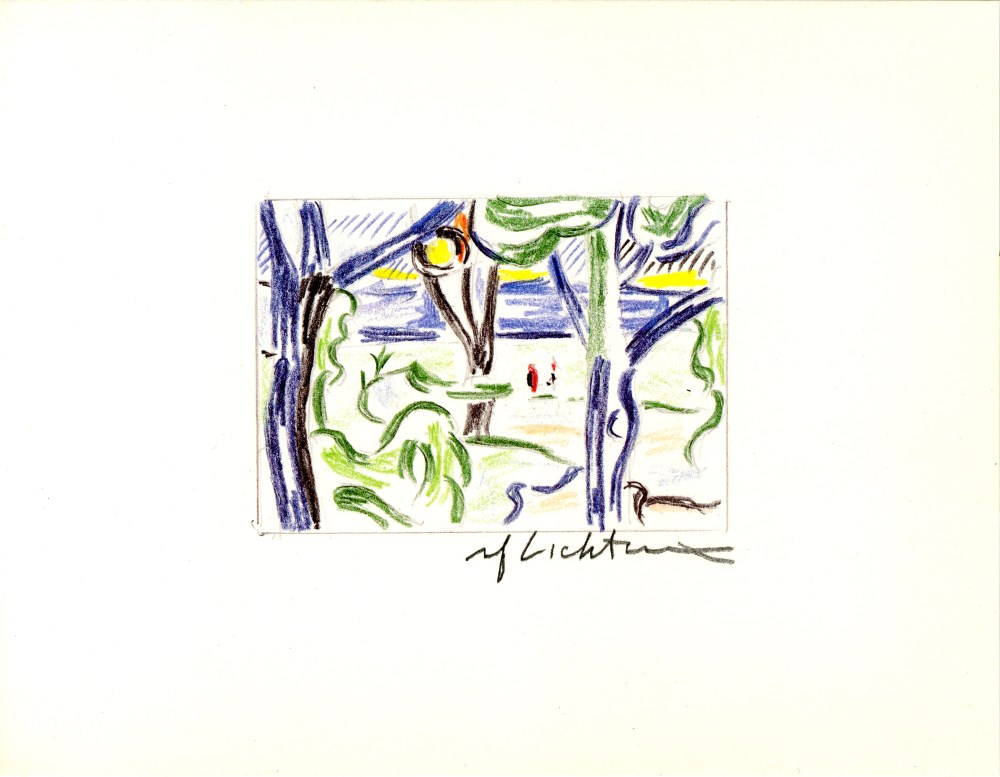 ROY LICHTENSTEIN - Landscape with Figures - Color offset lithograph