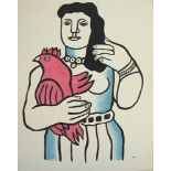 FERNAND LEGER [imputee] - Femme avec un coq - Watercolor, gouache, and ink drawing on paper