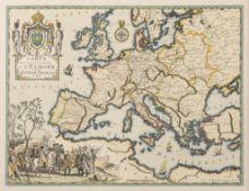 Premier Empire: Gravure colorée l'Empire français. Carte de l'Europe sous Napoléon d'après la
