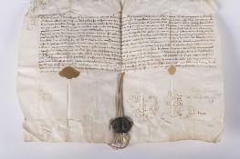 Etats du Pape: Bulle papale portant la signature et le cachet d'Innocent X. Bulle papale sur