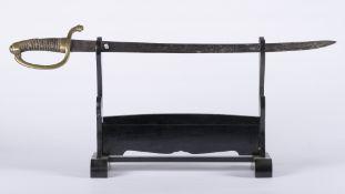 France, restauration: Sabre briquet. Sabre briquet modèle 1816, Monture en laiton, garde à 1